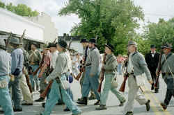 Confederate Troops March on Town Square